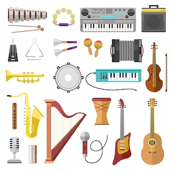 Music instruments vector icons