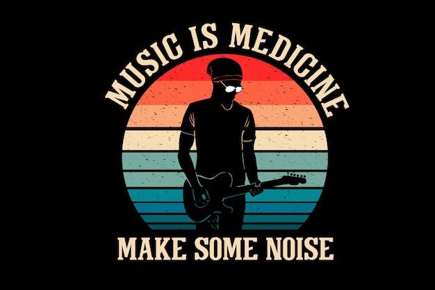 Music is medicine make some noise silhouette design