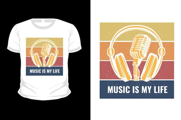 Music is my life retro merchandise t-shirt design