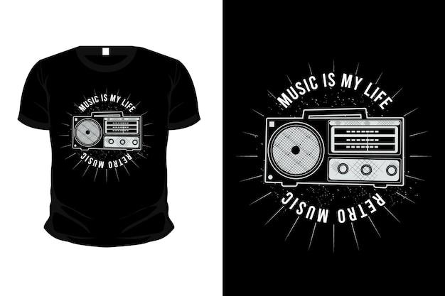 Music is my life ,retro music typography merchandise t-shirt design with radio
