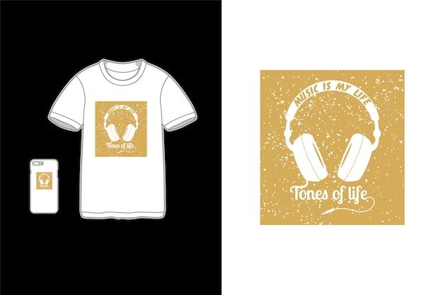 音楽は私の人生です、tシャツのタイポグラフィ