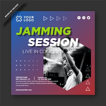 Music jamming session instagram template