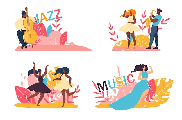 Music jazz festival cartoon talented people set
