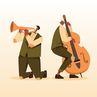 Music jazz player with double bass and trumpet