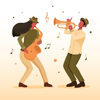 Music jazz player with trumpet and saxophone
