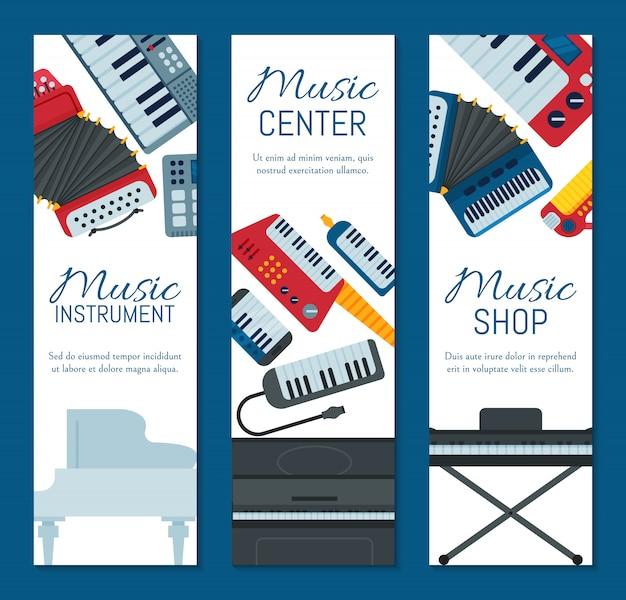 Музыкальный клавишный инструмент играет синтезатор оборудования баннер