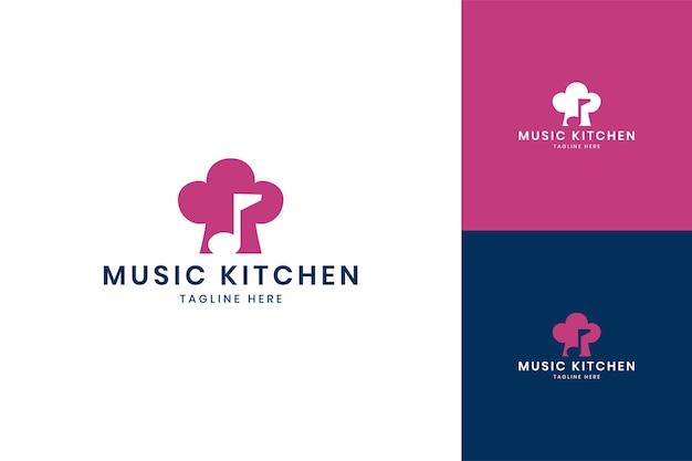 음악 부엌 부정적인 공간 로고 디자인