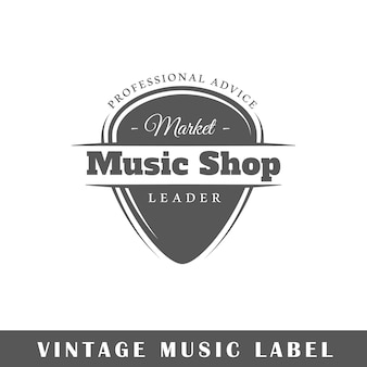 Music label isolated on white background.