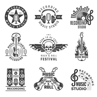 Music labels. microphone big speaker drums and headphones  pictures and logos for music records studio