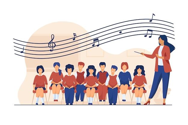 Lezione di musica a scuola. direttore d'orchestra con la bacchetta in piedi coro di canto bambini piatto illustrazione vettoriale coro, attività, hobby
