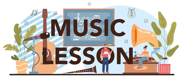 Music lesson typographic header. students learn to play music. young musician