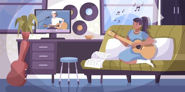 家のインテリアとリモート家庭教師とギターを弾く女の子のキャラクターと音楽レッスンオンライン作曲