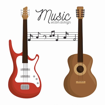 Music letter electric guitar and wooden guitar white background