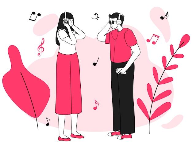 音楽リスナー会議イラスト。喜び、ポジティブな感情。笑みを浮かべて若いカップル、白で隔離されるヘッドフォンフラット輪郭文字と男性と女性の十代の若者たち