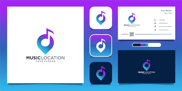 Music location logo design template and business card premium vector