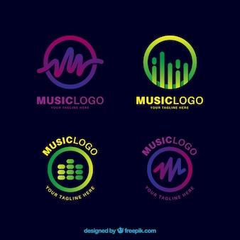 グラデーションスタイルの音楽ロゴコレクション