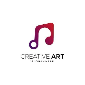 음악 로고 다채로운 현대 그라데이션