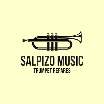 Music logo design with trumpet