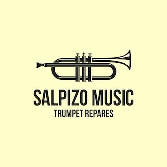 Дизайн логотипа музыки с трубой