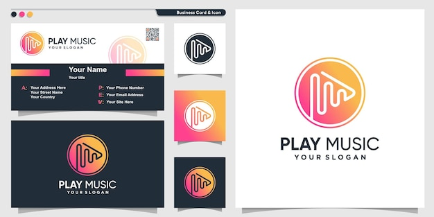 창의적이고 현대적인 그라데이션 스타일의 음악 로고 premium vector
