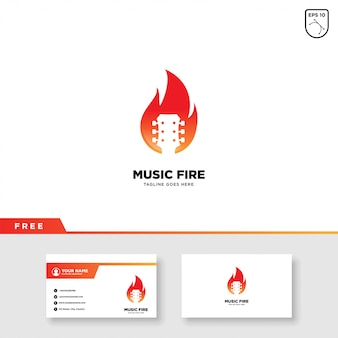 Music logo with fire and business card template