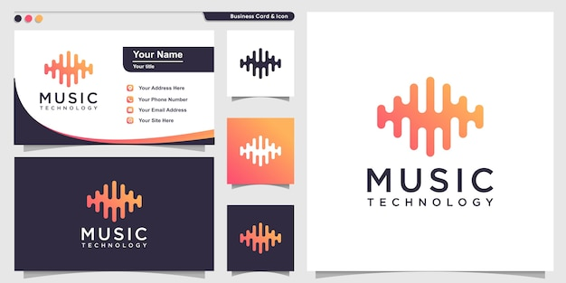 Music logo with gradient technology line art style and business card design template