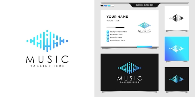 Music logo with initial hw and business card design