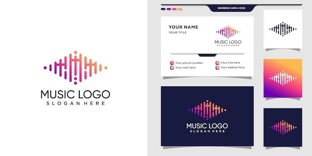 頭文字mと名刺の音楽ロゴ