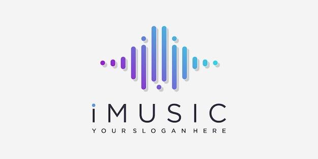 현대 라인 아트 스타일의 음악 로고 premium vector
