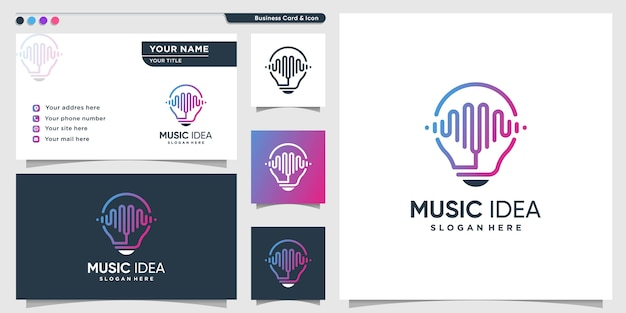 Music logo with smart line art style and business card design template, music, sound, idea, smart