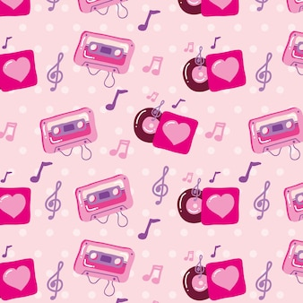 Music love seamless patter with cassette and musical notes.