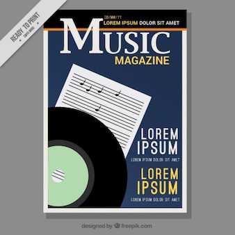 Music magazine cover with a stave and vinyl