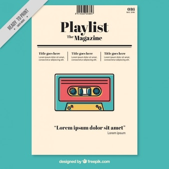 Music magazine template with colored tape