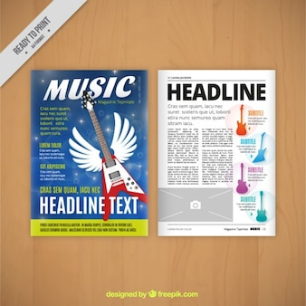 Music magazine with electric guitar