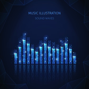 音楽メディアの多角形ワイヤーフレーム構成、編集可能なテキストと輝く粒子を含むイコライザーストライプの画像