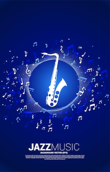 Music melody note flow with saxophone. banner for jazz song and concert theme.