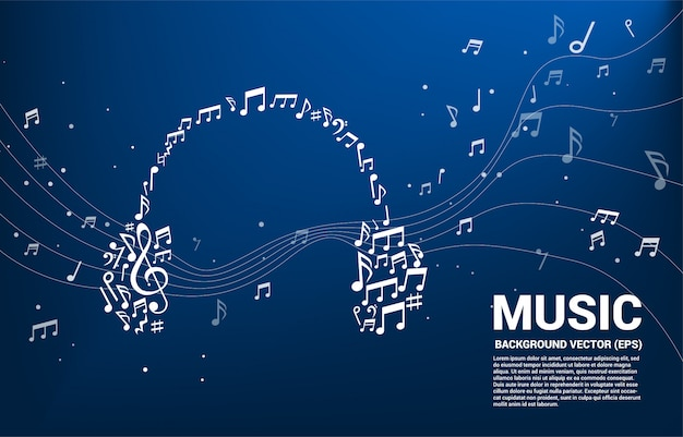 Music melody note shaped headphone icon.
