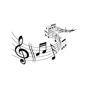 音部記号、ベクトルの音符譜表の音楽メロディーウェーブ。クラシック音楽コンサート、オーケストラ、交響曲または交響曲の音符が音階の譜表または五線譜に波打つ