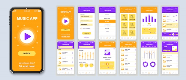 Music mobile app pack of ui, ux, gui screens for application