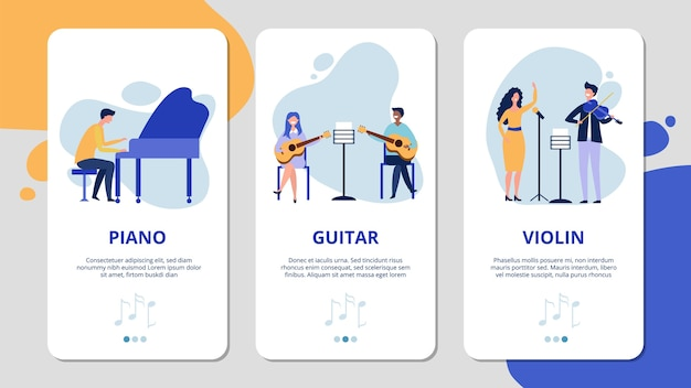 Music mobile app pages. piano violin guitar vocal concept. flat musicians and singer, musical instruments banners. singer and play guitar illustration, voice and acoustic