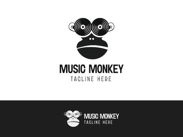 디스크 크리에이 티브 현대 로고 디자인 컨셉을 가진 음악 원숭이