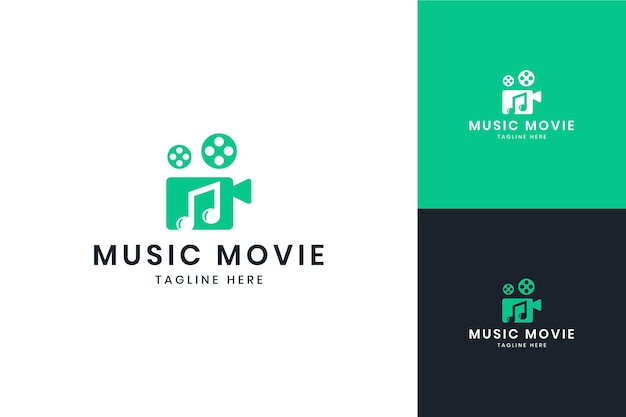 Music movie negative space logo design