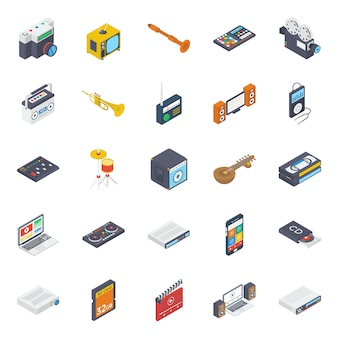 Music and multimedia isometric icons pack