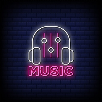 Music neon sign style text with headphone icon