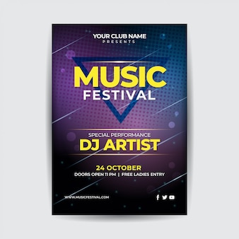 Music night festival party flyer