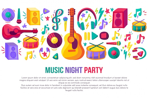 Music night party invitation poster vector template