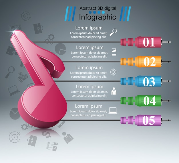 Music note - abstract business infographic.