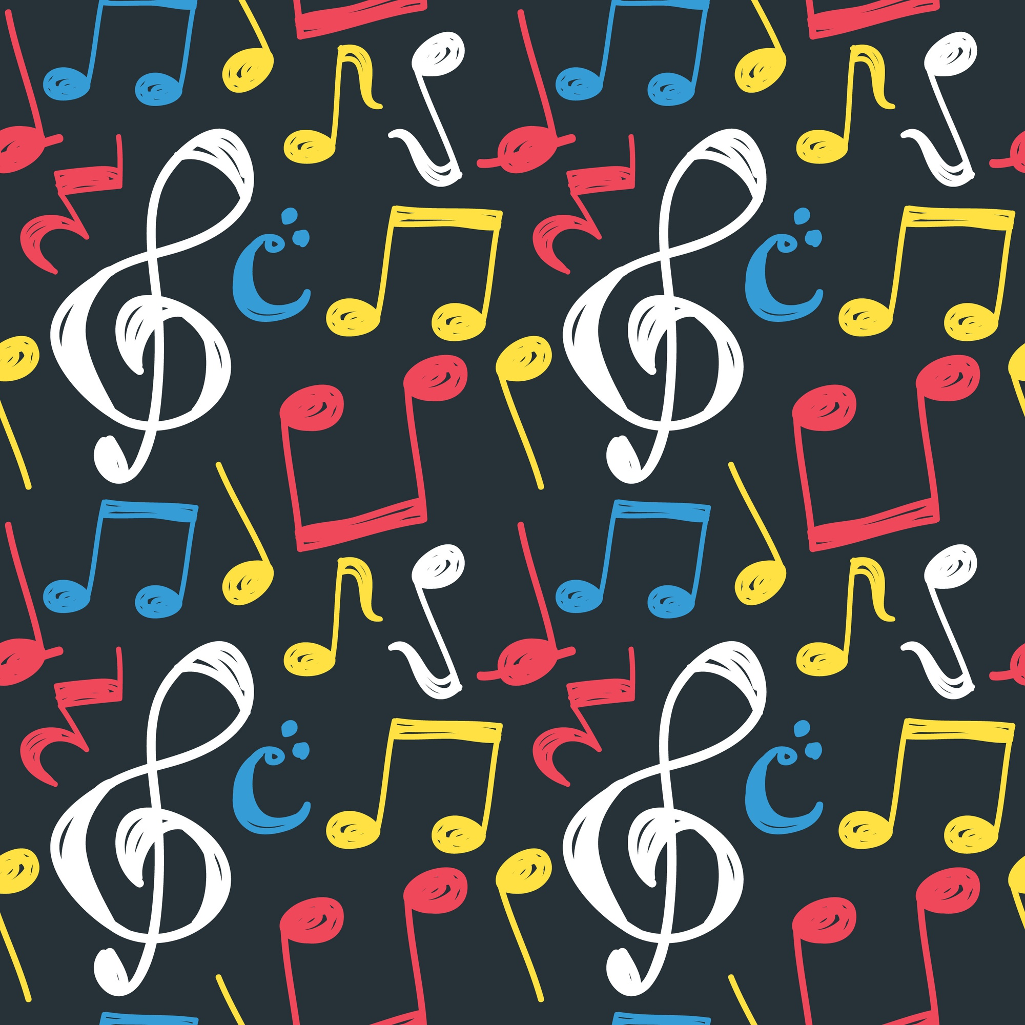 Music note seamless background