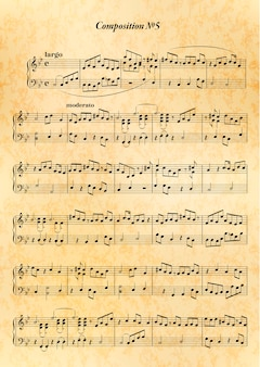 Music note sheet with difficult melody on old paper