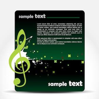 あなたのテキストのためのスペースと背景にベクトル音楽ノート